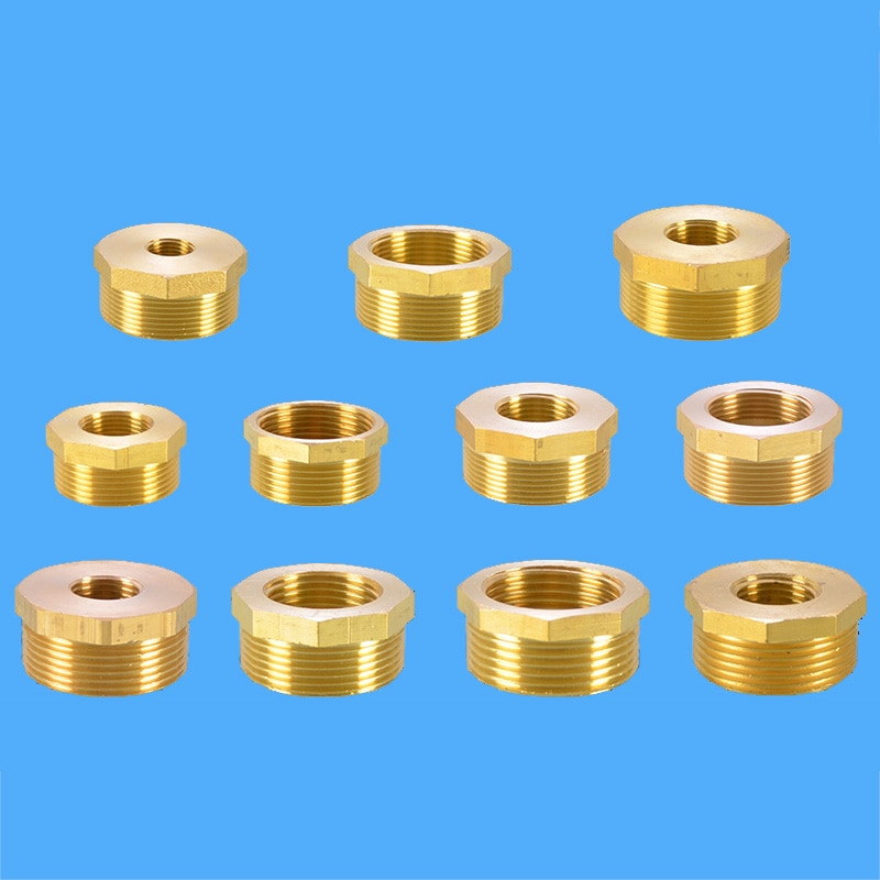 brass pipe hex nipple fitting quick adapter 1 8 1 4 3 8 1 2 3 4 1 bsp male thread water oil and gas connector Brass Hex Pipe Fitting 1/8 1/4 3/8 1/2 3/4 1 BSP Female to Male Bushing Reducer Water Pipe Connector Gas Adapter Coupler