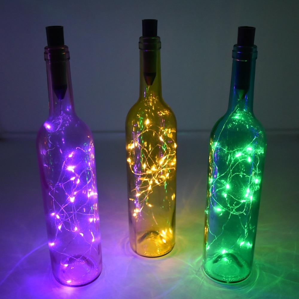 Luces de cadena de 2M, luces LED plateadas para botellas de vino, luces de botella de vidrio con forma de corcho alimentadas por batería, lámpara de tapón para botellas, guirnaldas de Navidad, decoración
