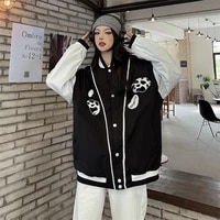 women bomber jacket 2021 new autumn ins long sleeve jacket design coat black loose baseball jacket womens fashion