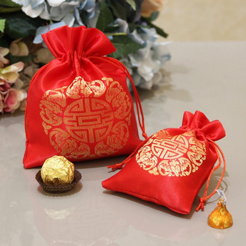 Bolsa de dulces de bendición de Año Nuevo, bolsa de regalo de bendición de la paz roja, bolsa pequeña de tela, bolsa con cordón, paquete de almacenamiento de lino de algodón hecho a mano