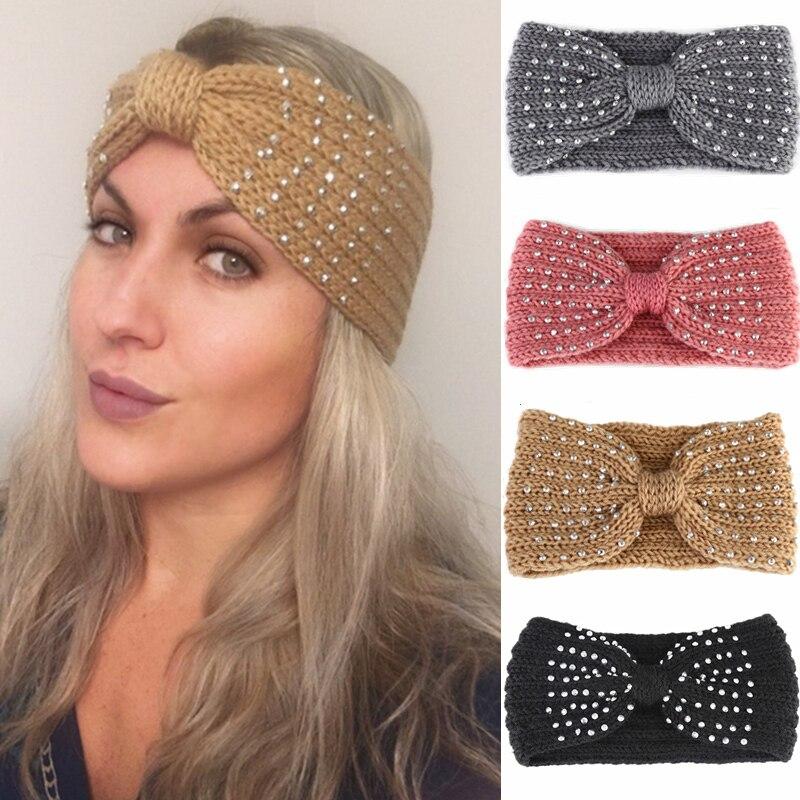 2020 novo inverno mais quente orelha de malha bandana arco strass headwear para meninas europeus sólidos turbante cabelo banda urdidura