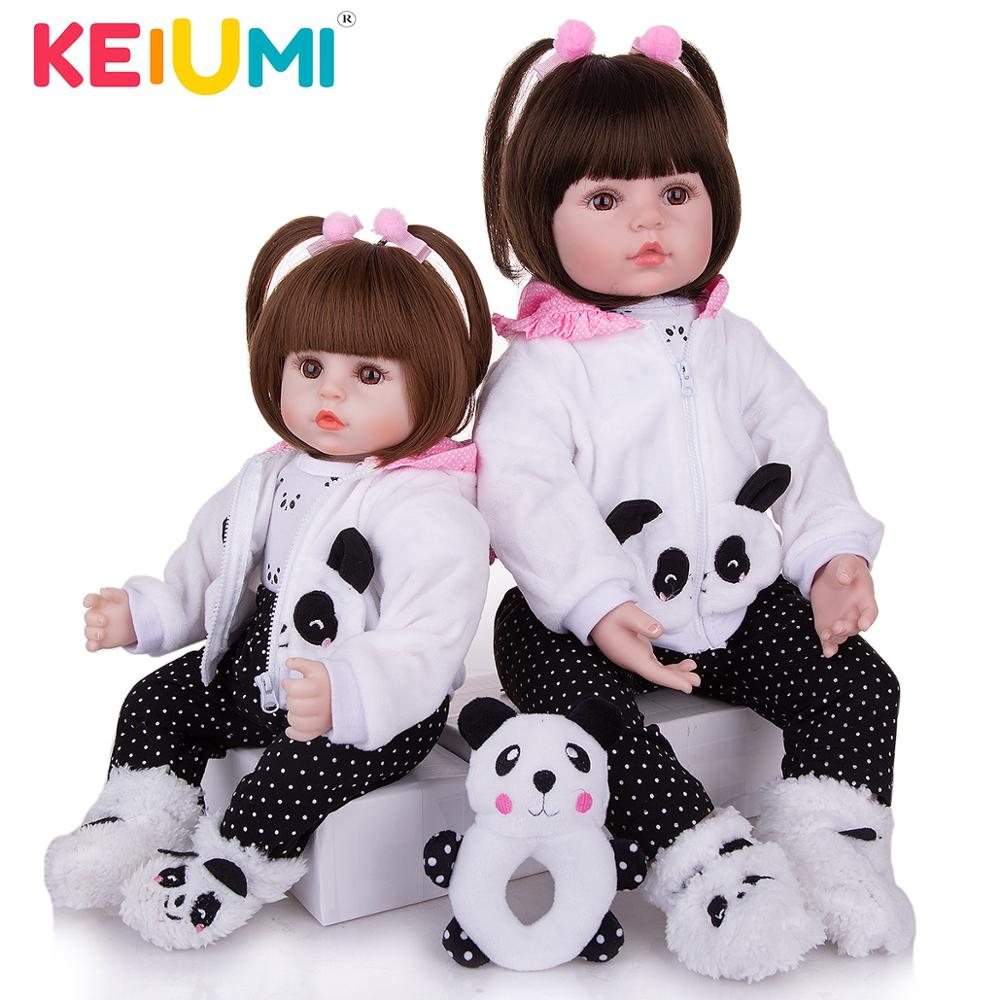 KEIUMI Realistic Reborn Baby Girl Doll Cloth Body Stuffed Lifelike Babies Doll Toy Wear Panda Clothing Kid Xmas Birthday Gifts