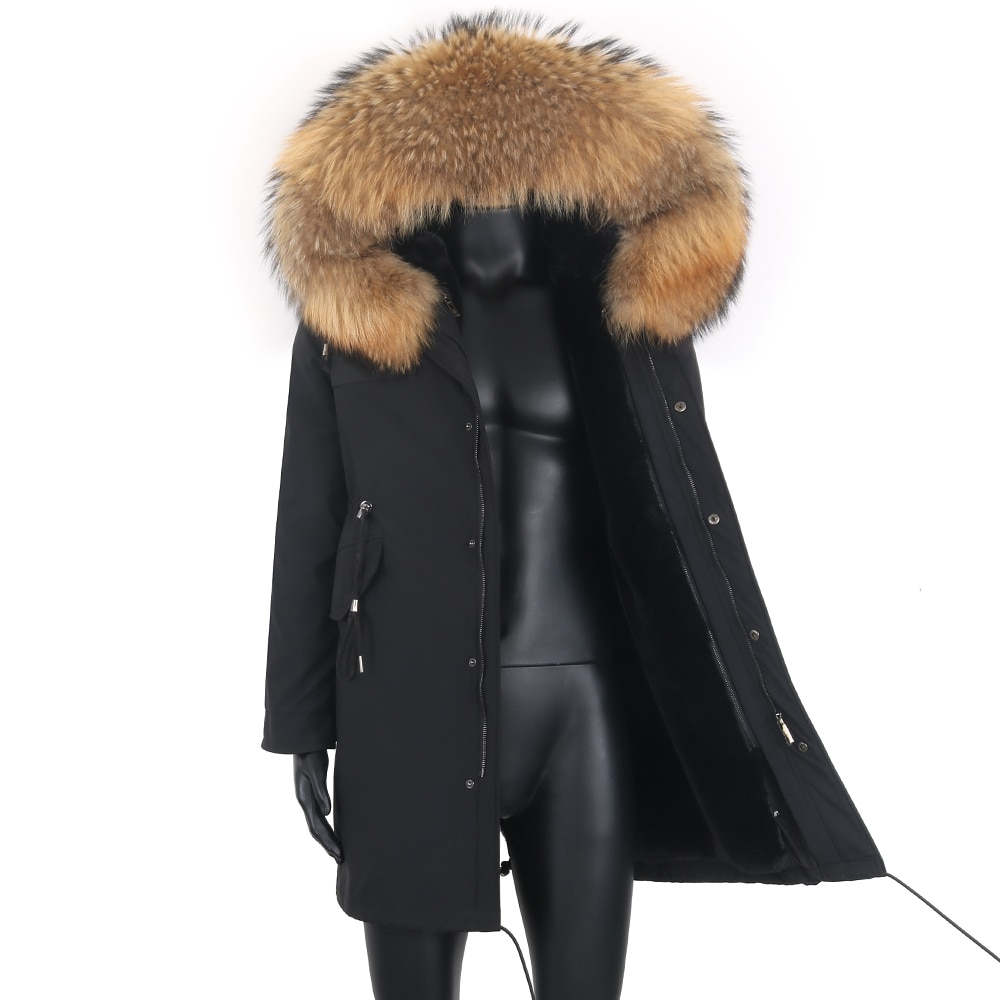 2021 New Winter Jacket Men Casual Coat Wear with Real Raccoon Fox Fur Collar Removable Faux Rabbit Fur Liner Fashion Outerwear