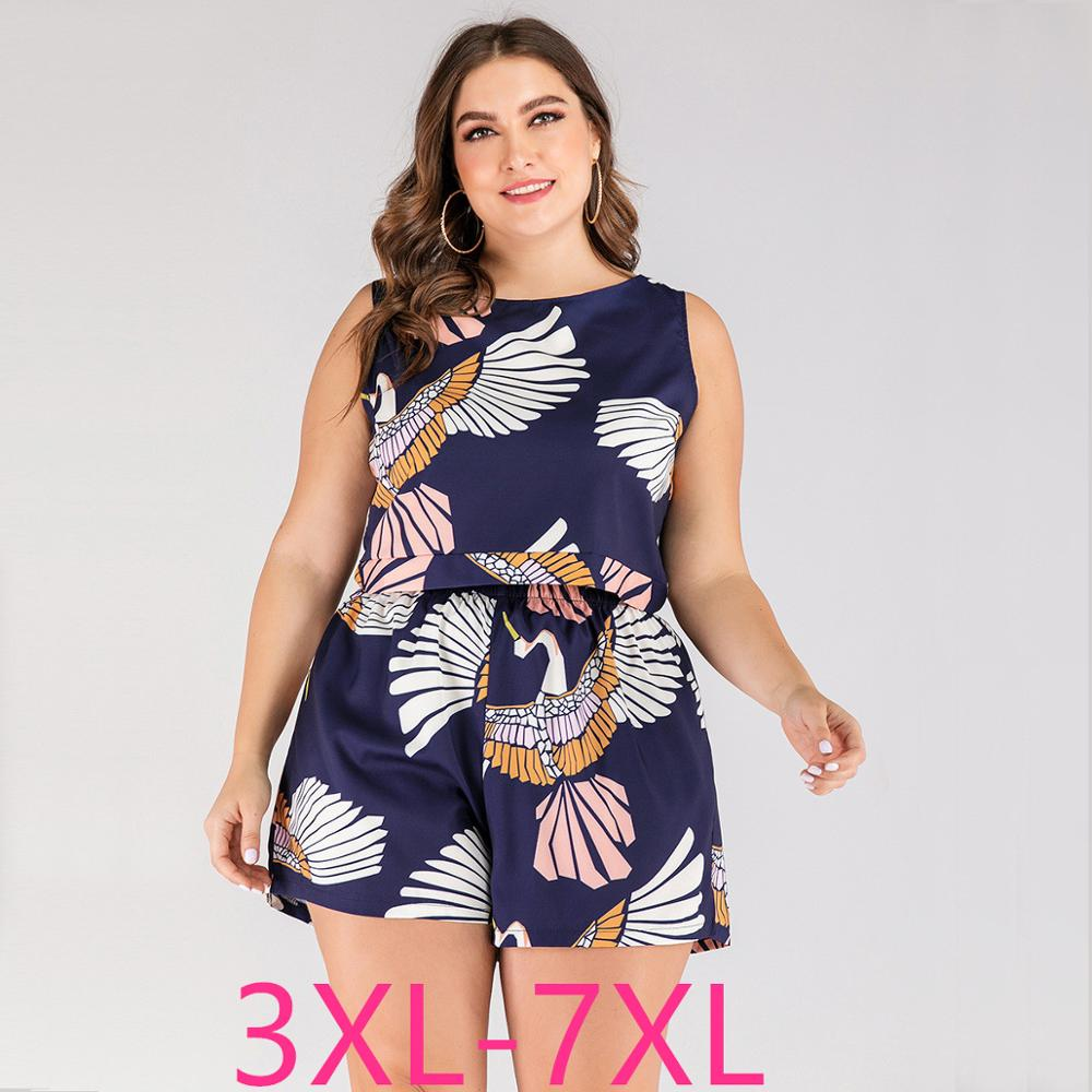 2021 summer plus size beach wear suits for women large loose casual sleeveless t-shirt and shorts sets blue 3XL 4XL 5XL 6XL 7XL