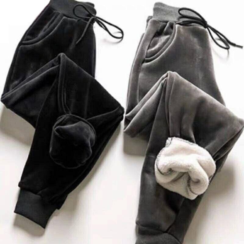 Зимние женские облегающие брюки из овечьего меха, женские повседневные теплые кашемировые брюки на флисовой подкладке, осенние спортивные ...