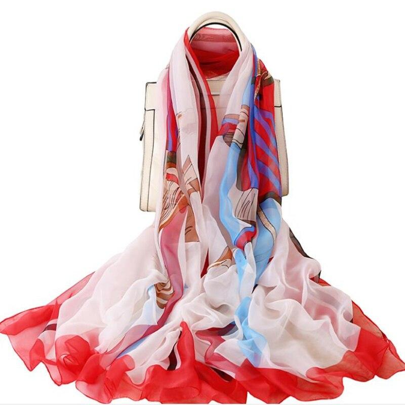 Fashion Elegant Floral Scarfs Women Long Soft Female Scarves Brief Beach Towel Shawl