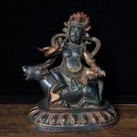home decor 8tibet buddhism temple old purple bronze cinnabars manjusri guanyin bodhisattva statue enshrine the buddha