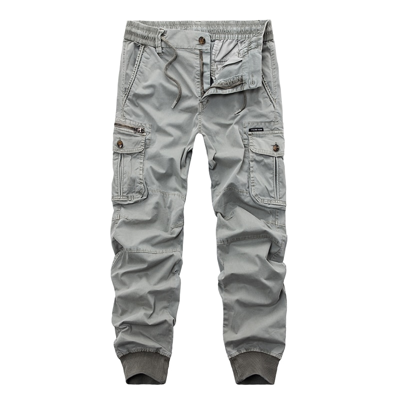 ¡Novedad de 2019! pantalones de Joggers casuales de marca, pantalones de color liso para hombre, pantalones elásticos de algodón, estilo militar, pantalones Cargo militar, Leggings para hombre 29-38