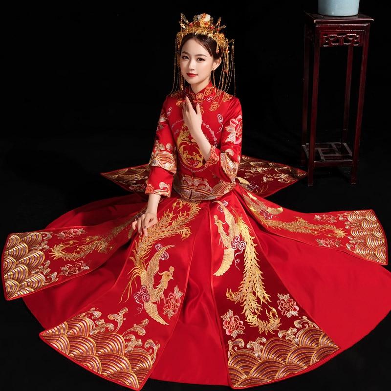 الصينية التقليدية فستان زفاف للنساء التطريز حجر الراين طويل شيونغسام أنيق أنيق العروس الكلاسيكية المرأة الساتان ثوب