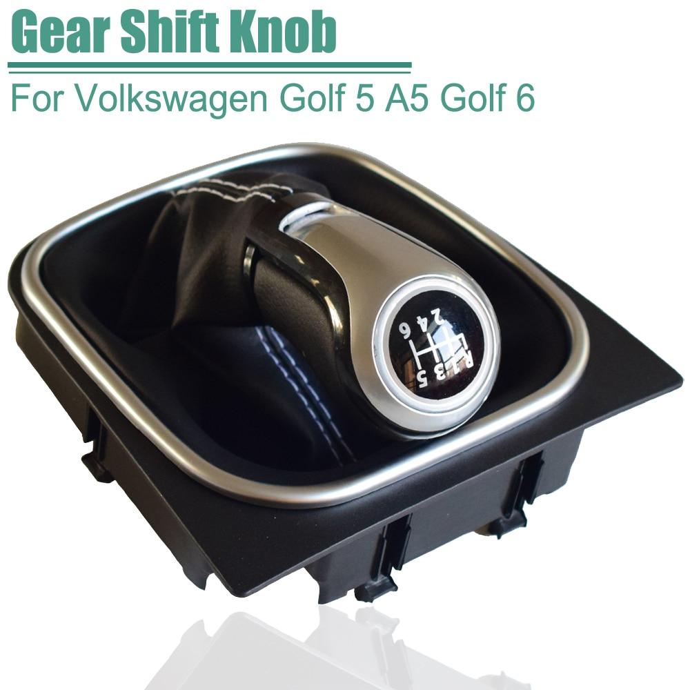 Para VW Golf 6 Golf 5 A5 MK5 GTI GTD R32 2004-2008 Scirocco MT 5 6 perilla de cambio de velocidad palanca polaina cubrebotas Collar