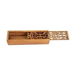 Asian Wooden Pen Pencil Case Box (Butterfly Pattern)