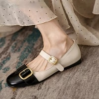 mixed colors women flat shoes brand new genuine leather buckle moccasins woman working loafers flats noble girl ballerina