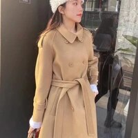 double sided cashmere coat womens medium and long autumn and winter new lace waist small pure handmade wool coat