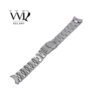 Rolamy 22mm Sliver All Brush Stainless Steel Wrist Watch band Replacement Metal Watchband Bracelet Double Push Clasp For Seiko