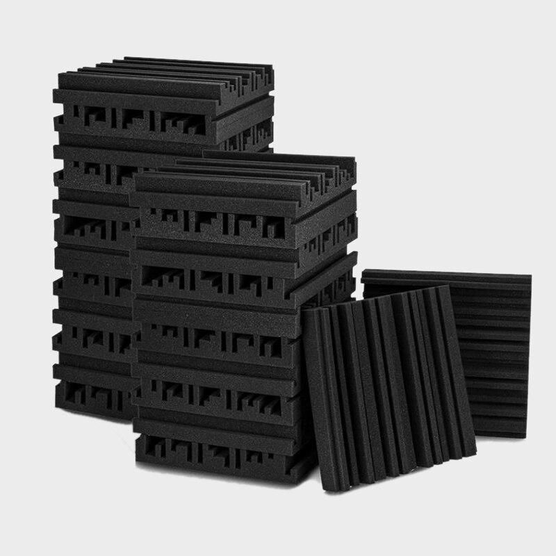 24 قطعة ألواح فوم صوتية سوداء ، استوديو إسفين البلاط ، لوحات الصوت أسافين عازلة للصوت امتصاص الصوت ، 30X30X5cm