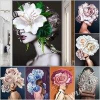 5d diy mosaic diamond painting woman flower full square drill embroidery kit cross stitch art decor