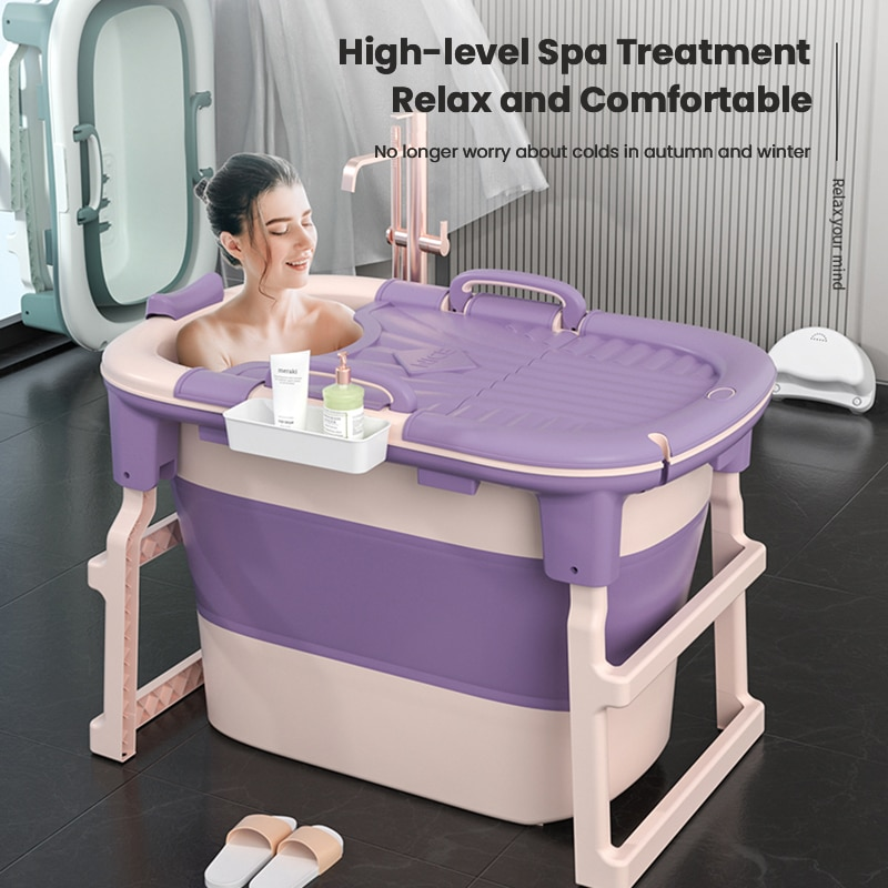Infant Shining Folding Bath Tub for Adults and Children Large Bathing Artifact Can Sit and Lie Household Bath Tub Swimming Pool
