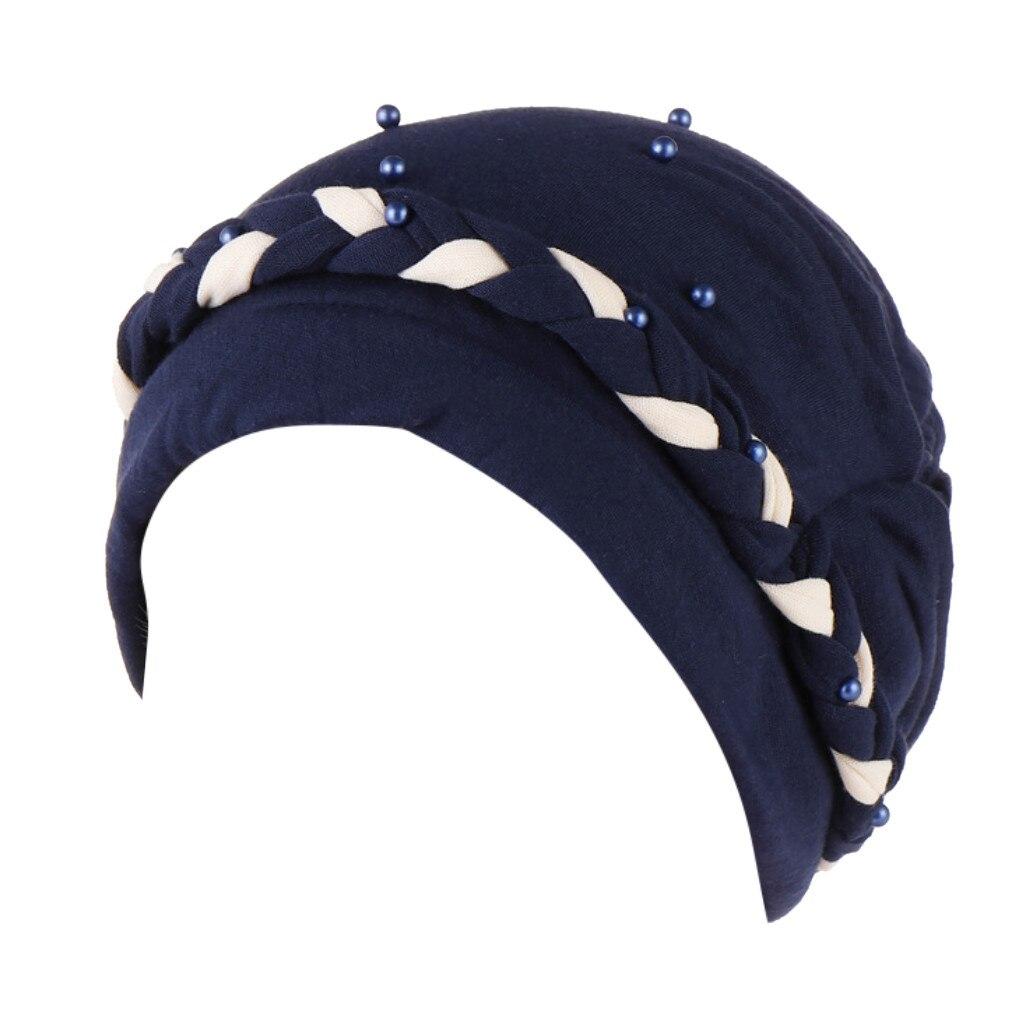 Beading Braid Ruffle Cancer Chemo Beanie Turban Wrap Cap Hair Scarf India Muslim Hat For Women
