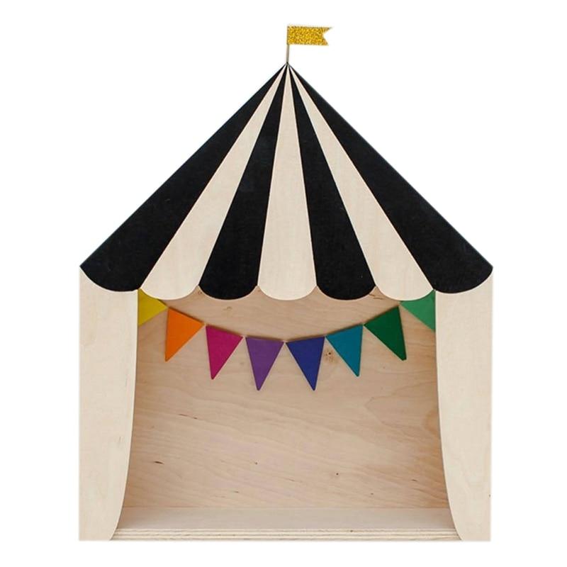 Gran oferta Ins circo casa de madera estantes de almacenamiento hechos a mano niños sujetalibros adornos de madera niños habitación decoración organización Wal