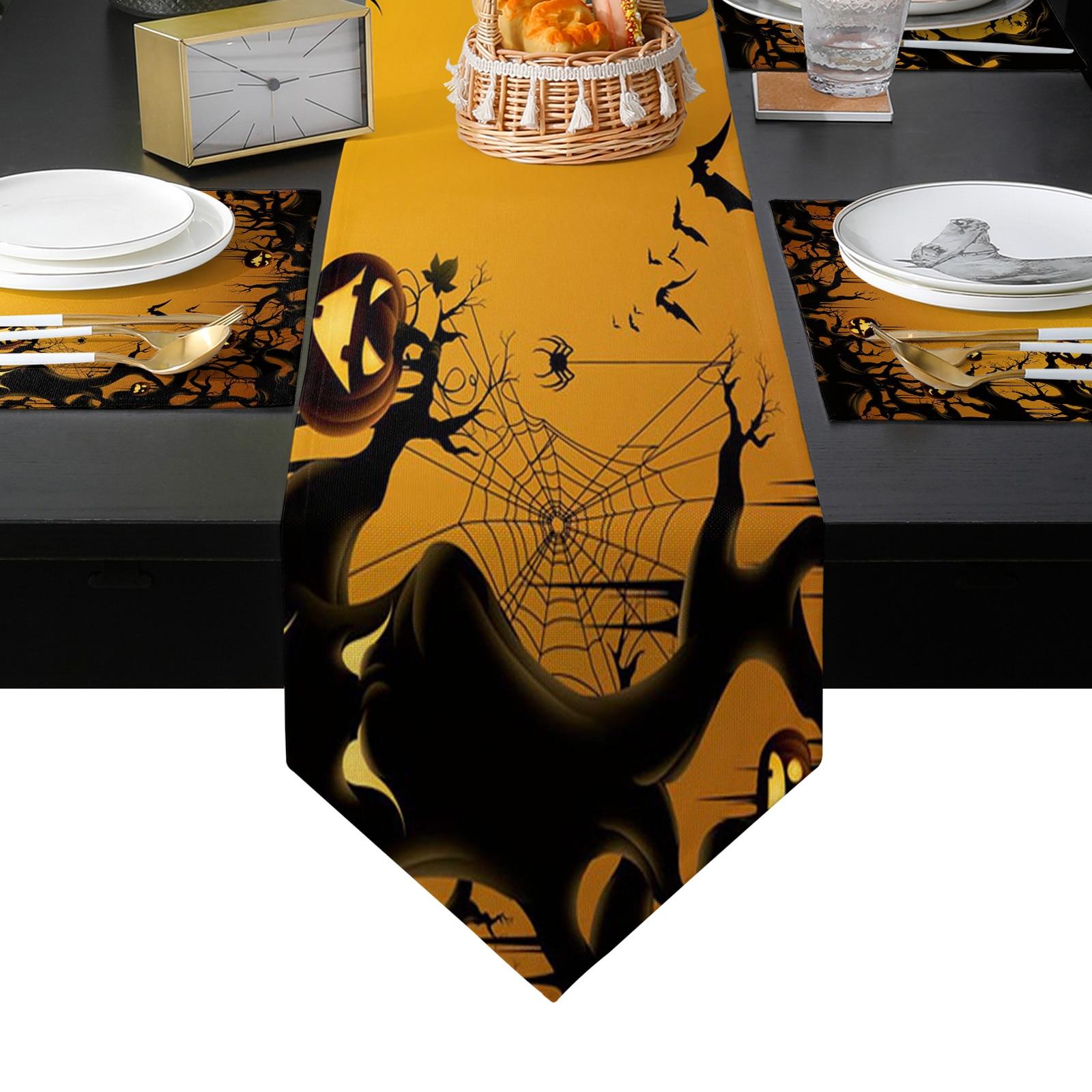 هالوين الخفافيش اليقطين الجدول عداء عطلة المطبخ طاولة طعام العدائين مكان الحصير مجموعة للمنزل ديكور حفلات
