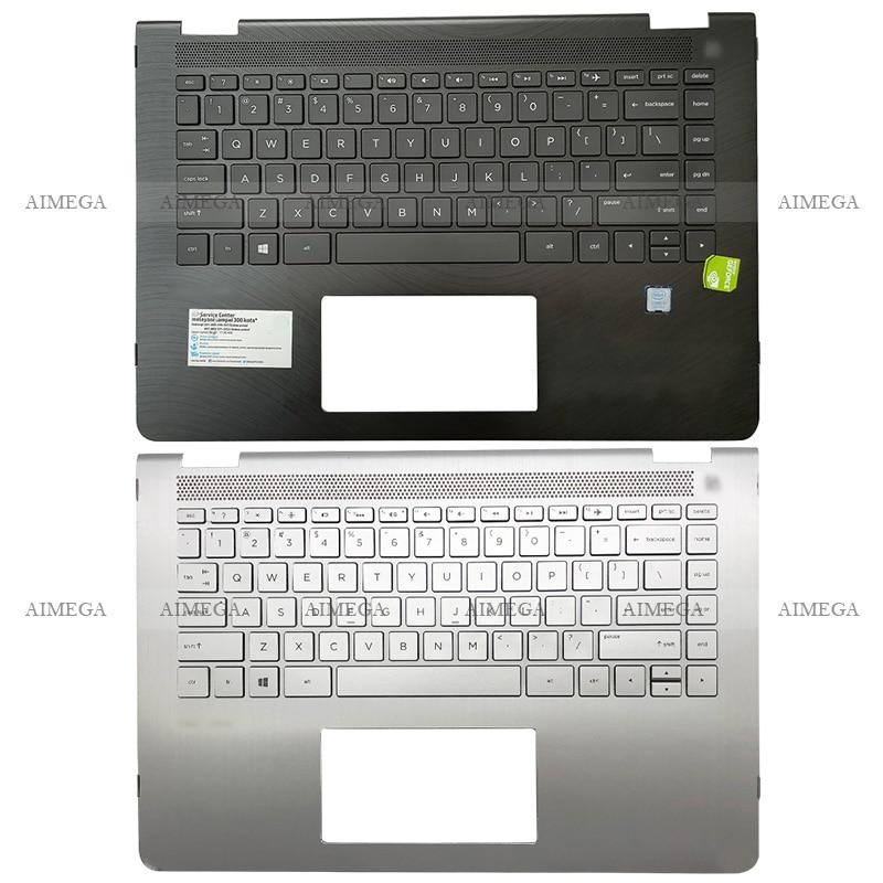 Laptop Palmrest Upper Case US Backlit Keyboard For HP Pavilion X360 14M 14-BA 100TX 048TX 114DX 015DX 924117-001 924115-001 original new for hp 15 cs 15 cw series laptop palmrest upper case us backlit keyboard touchpad l24752 001 sliver