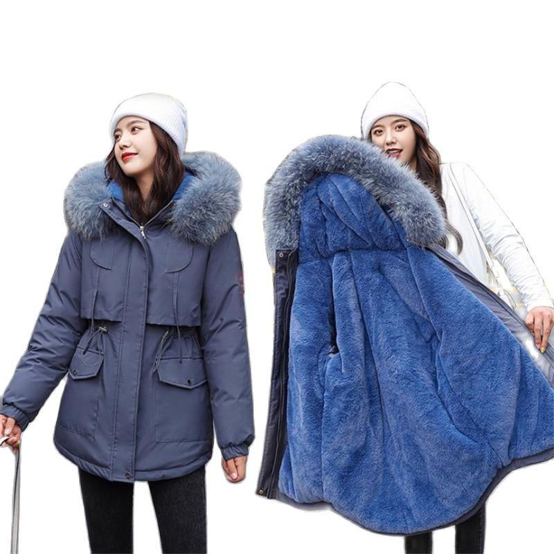 معطف نسائي شتوي بغطاء للرأس من الفرو ، جاكيت شتوي كوري سميك ودافئ ، مبطن بالقطن ، معطف مخملي طويل للنساء