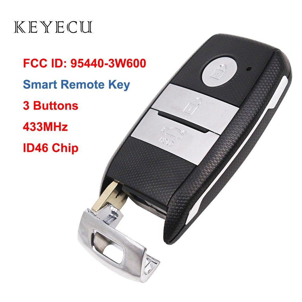 Keyecu Smart-Remote-Key Fob 3 Tasten 433MHz ID46 Chip für Kia K5 Sportsge 2014 FCCID 95440-3W600