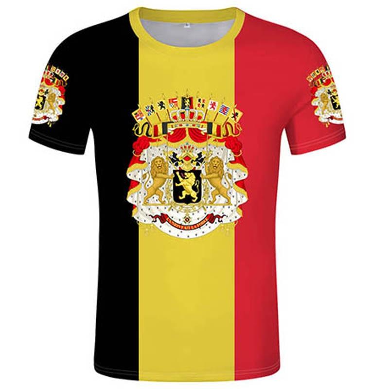 Camiseta belga, número de nombre personalizado gratuito, bandera DIY, camiseta con nombre de país, 3D Camiseta con estampado, foto, ropa de la bandera