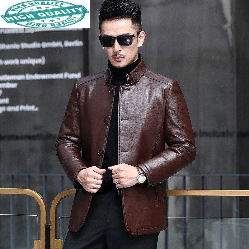 الأبيض 10% بطة أسفل معطف الرجال عادية حقيقية جلد الماعز سترة الذكور قصيرة الأسود معاطف Veste Cuir Homme SQQ742