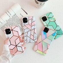 Manque luxe placage ligne géométrique marbre coque de téléphone pour iPhone 11 11Pro Max X XS Max XR 6 6S 7 8Plus coloré Texture couverture