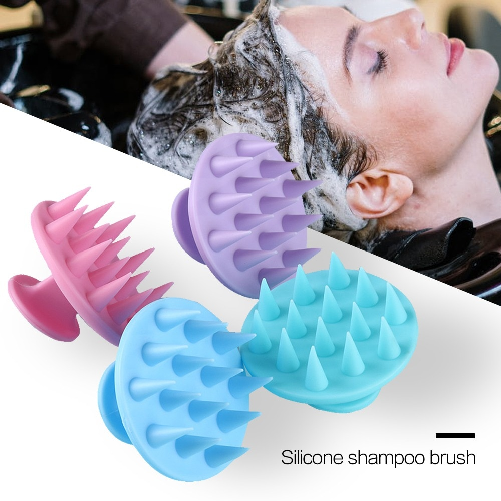 Handheld Hair Comb Silicone Head Body Scalp Shampoo Massage Brush Shower Hair Massager Clean Hair Br