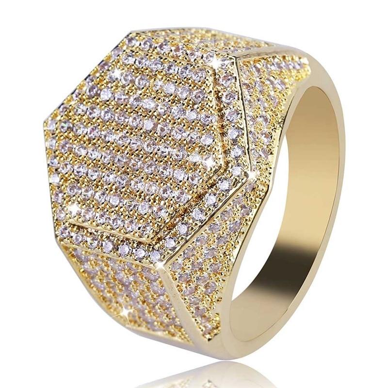 Anillo de moda Hip Hop para hombre, anillo de circonita cúbica de cobre, dorado, plateado, con piedras brillantes, anillos geométricos para hombre, regalo de abalorios de aniversario