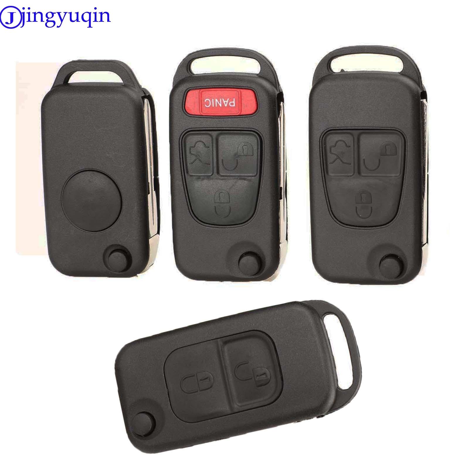 Jingyuqin 1/2/3/4 botões do carro remoto dobrável fyd chave escudo capa para mercedes para benz b200 a160 w124 w202 w210 hu39 hu64
