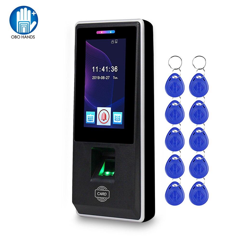 Teclado lector de tarjetas con Control de acceso RFID de 4,3 pulgadas, sistema biométrico de huellas dactilares, tiempo de asistencia USB para sistema de cerraduras de puertas