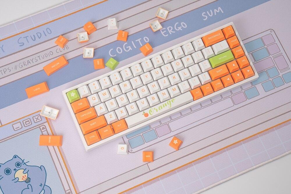 قبعات مفاتيح برتقالية رائعة Pbt مجموعة كاملة من 134 مفتاح لـ 61 64 68 84 87 96 980 104 مع لوحة مفاتيح