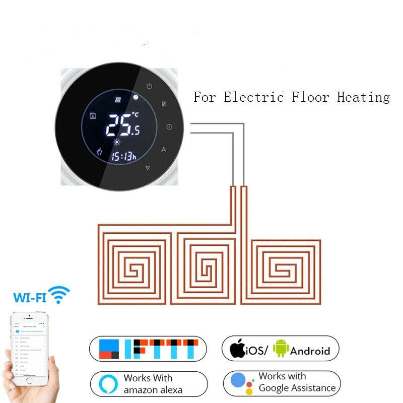 ترموستات تدفئة أرضية كهربائي ذكي Wifi ، تطبيق Tuya ، جهاز تحكم عن بعد ، إضاءة خلفية أسبوعية ، شاشة LCD تعمل باللمس ، متحكم في درجة الحرارة