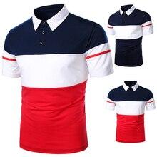 גברים פולו גברים חולצה קצר שרוול פולו חולצה ניגוד צבע פולו חדש בגדי קיץ Streetwear מקרית אופנה גברים חולצות