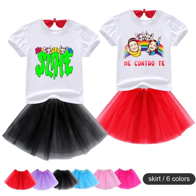 Baby Girls Princess Cartoon Me Contro Te Print Tutu Dress + T shirt 2 Pcs Set Children's Clothing Skirt Suits 2-8 Years Costumes