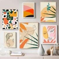 Affiche nordique abstraite mode retro fille  art mural geometrique peinture a lhuile et impression  decoration de la maison  dessin mural