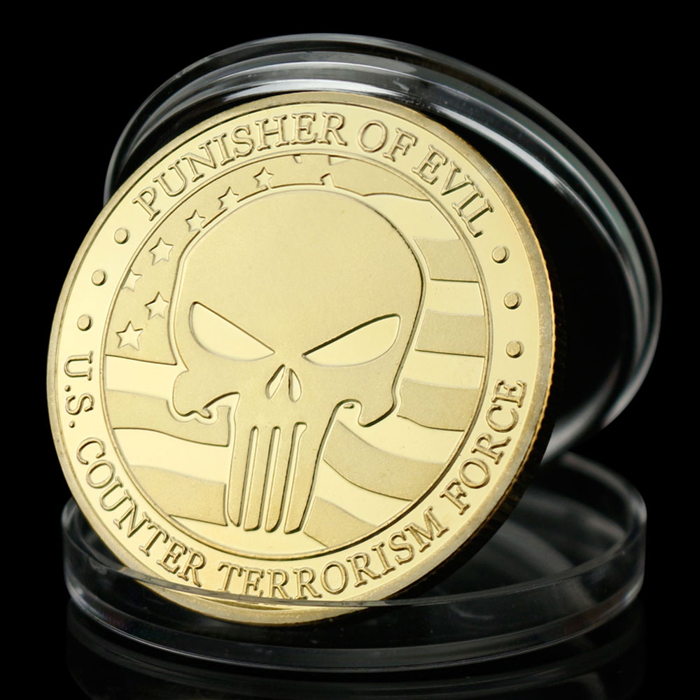 Золотая монета Каратель, американская кографин, сувенирные коллекционные предметы, позолоченная монета Honor, памятная монета, монета