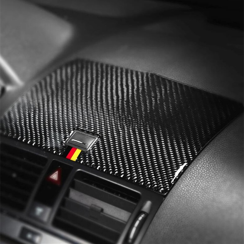 Center Console Navigation Panel Cover Trim For Mercedes Benz C Class W204 2007-2010 Carbon Fiber Audio Speaker Frame Decoration