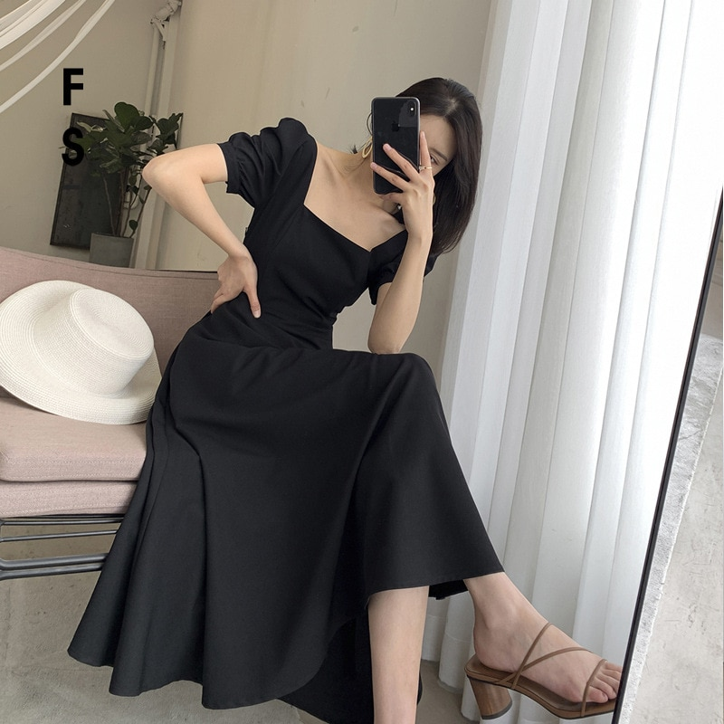 white lace details round neck short sleeves mini dress with lined Square Neck Dress Women's A-line Short Sleeves Dress for Women Black Dress with Puff Sleeves Females Big Swing Long Dress