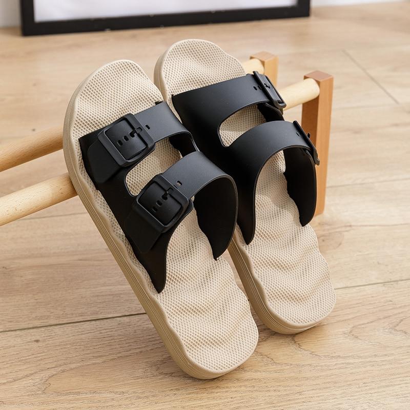 Summer Casual Men'S Double Buckle Sandals Daily Flip Flops Breathable Solid Color Non-Slip Shoes Size 40-45 Wholesale