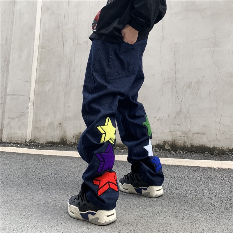 Harajuku Stars Embrodiery Vibe Style Jeans for Men High Street Straight Washed Distressed Casual Denim Trousers