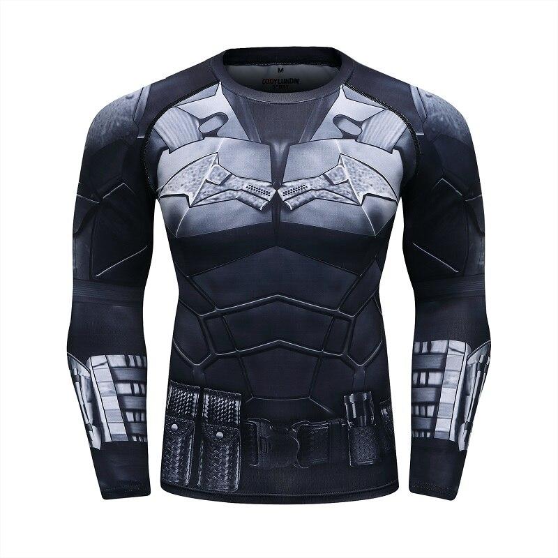 Batman 3D printed long-sleeved men's compression sports long-sleeved superhero shirt long-sleeved suit fitness European shirt
