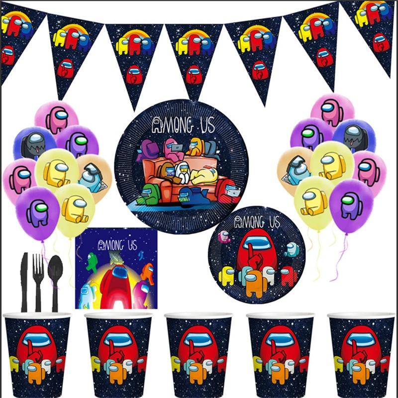 Одна из наших популярных игр, одноразовая посуда среди нас, украшение для детского дня рождения, детский душ с флагом