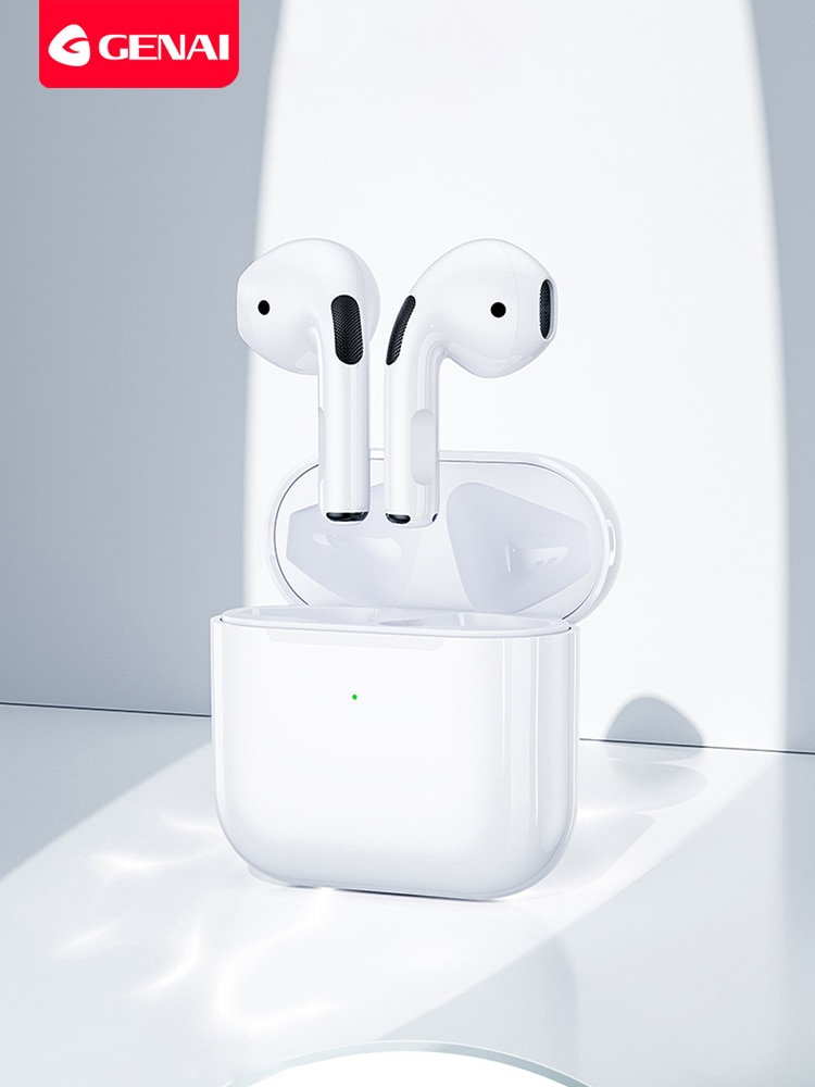 Genai Mini Pro 4 TWS سماعة بلوتوث لاسلكية 5.0 سماعات الرياضة سماعات سماعة رأس مزودة بميكروفون اللمس باس سماعات ستيريو الموسيقى