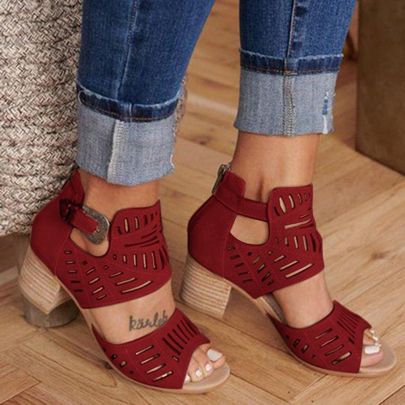 Vintage Hollow Out Sandals Mid Heel Summer Slip-on Buckle Ladies Shoes Artificial Open Toe Casual We