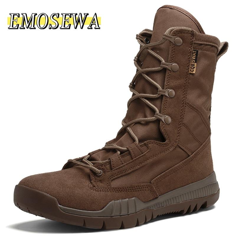 EMOSEWA الخريف الرجال أحذية عالية الجودة عادية البريطانية تصميم عدم الانزلاق الرجال بوط من الجلد الطبيعي للأزياء عالية الجودة حذاء رجالي