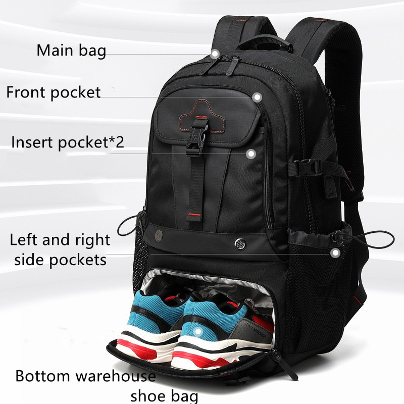 Travel bag men's outdoor leisure large-capacity functional 17-inch backpack luggage bag 2021 new leisure and comfortable enlarge